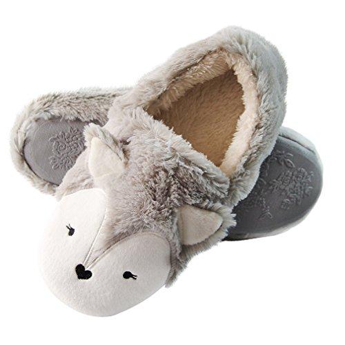 Caramella Bubble Fox Fleece Pantoffeln Winterwolle Plüsch für drinnen und draußen, Grau - grau - Größe: 38/39 EU