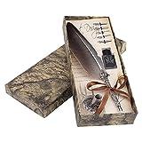 Akozon Pluma de Inmersión y 5 Pluma de Inmersión Antiguo Conjunto de Caja de Regalo de Tinta Pluma de Caligrafía de Escritura 0.5mm(Negro)