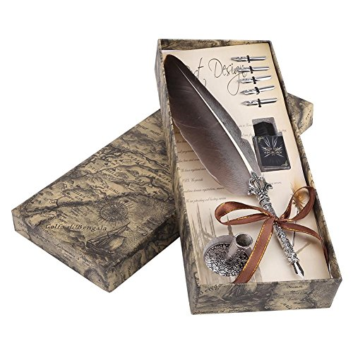 Pluma de inmersión hecha a mano Pluma de caligrafía inglesa Pluma de pluma Pluma de escritura Conjunto de tinta con 5 plumillas de repuesto y Base de punta de pluma para regalo de papelería(Negro)