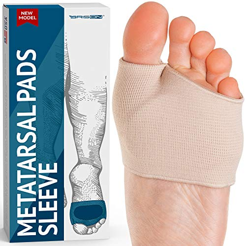 Metatarsal Gel Sleeves Forefoot Cushion Pads - Fabric Soft Foot Care Ball of Foot Cushions for Bunion Forefoot Mortons Neuroma Blisters Callus Supports Metatarsalgia Pain Relief - Men Women
