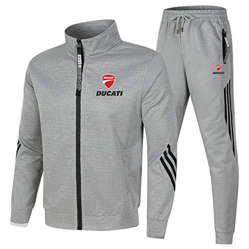 Hombre Chándal Chaqueta Pantalones Conjuntos, Du.c-a.ti Jogging Traje con Cremallera y Cuello Alto, Hombres de Ropa Deportiva (2XL,Grey)