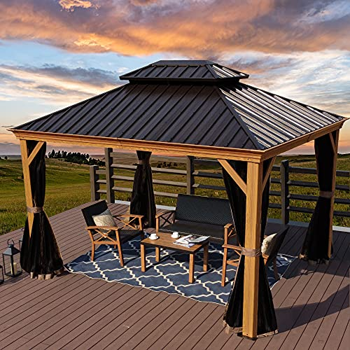 Kozyard Apollo Wood Looking 10ft x 12ft Aluminum Hardtop Gazebo with Galvanized Steel Roof and Mosquito Net (10ft x 12ft)