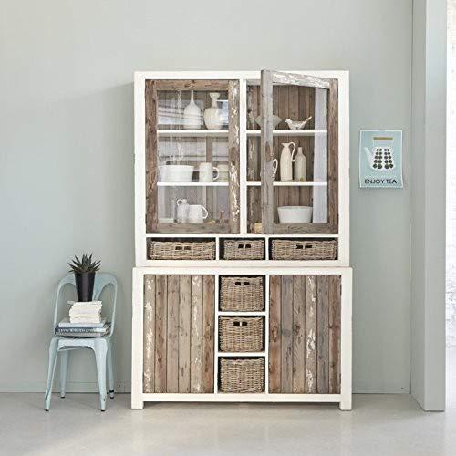 Bibliothèque en Bois de pin recyclé 6 tiroirs 140