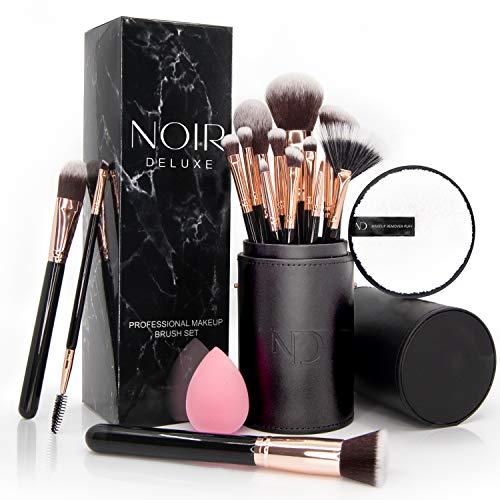 Noir Deluxe Make-up Pinselset: 14 professionelle Make-up-Pinsel mit wiederverwendbarem Schwamm zum Entfernen von Make-up sowie Beautyblender in Pinselhalter (Roségold)