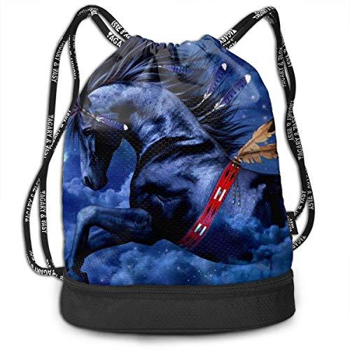 PmseK Turnbeutel,Kordelzug Rucksack Valorous Horse Print Drawstring Backpack Bag Outdoor Bundle Backpack Gym Sackpack Travel Sport Yoga Gym Cinch Bag Laptop Sack Bag Beach Rucksack for Women & Men
