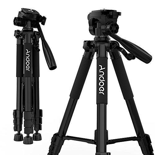 Andoer ビデオカメラ三脚 スマホ三脚 3WAY雲台 4段階伸縮 360回転 軽量 コンパクト レバー式 水準器付き Canon Nikon Sony Panasonicカメラ用 ブラック