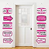 Breast Cancer Awareness Banners, 10 Pieces Pink Ribbon Hanging Decorations Pink Breast Cancer Awareness Party Banner Pink Ribbon Yard Sign Hope Faith Strength Courage Inspiring Banners