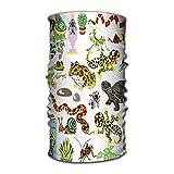 Quintion Robeson Diademas Turbante elástico Envoltura de la Cabeza Estilo de conformidad Banda para el Cabello Terrario Set Dibujos Animados Reptiles Anfibios Insectos Animales Blanco Fresco
