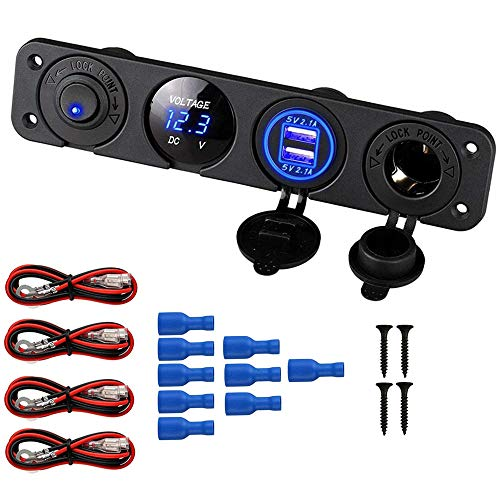Thlevel Auto Ladegerät Schalttafel, 12V Dual USB Ladebuchse + Zigarettenanzünder Adapter + Blaue LED Voltmeter + ON/of Schalter Toggle Panel für Camper Truck Trailer Marine Boat