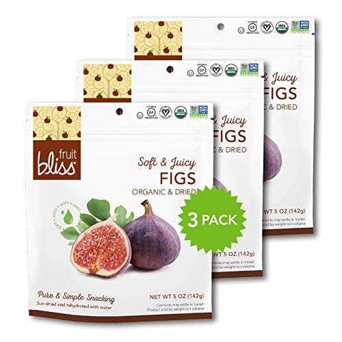 Organic Turkish Figs Dried Fruit Snacks, Sweet, Soft & Juicy Sun-Dried Figs – Healthy Snacks for On the Go – Organic Figs Treats are Non-GMO, Gluten-Free, Vegan Fig Snacks (3 Pack - 5 oz. each)