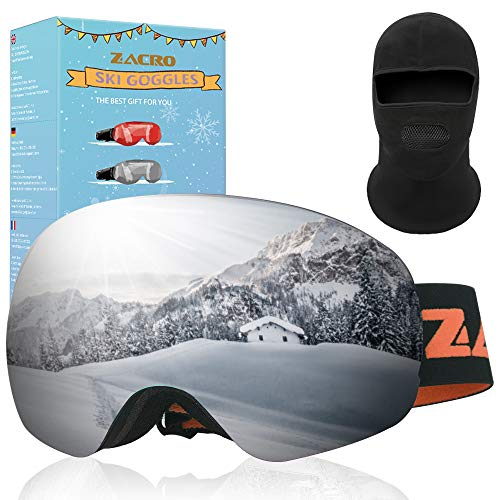 Zacro Verstellbarer Skibrille + Winddichter Kappe, Anti Fog & UV Schutz Doppelt Snowboard Brille für Damen und Herren Jungen und Mädchen, Grau