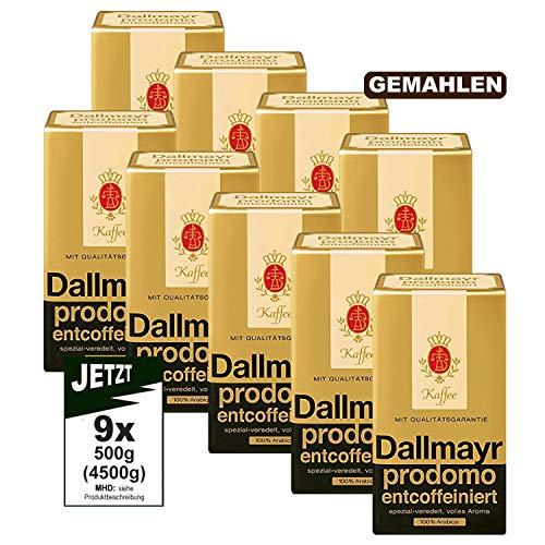 Dallmayr Kaffee PRODOMO ENTCOFFEINIERT gemahlen 9x 500g (4500g) - 100% Arabica Kaffee