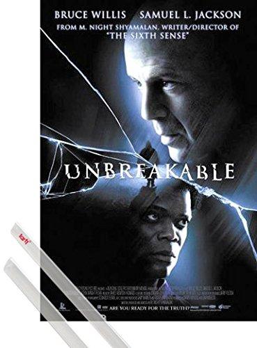 1art1 El Protegido Póster (98x68 cm) Bruce Willis, Samuel L. Jackson Y 1 Lote De 2 Varillas Transparentes