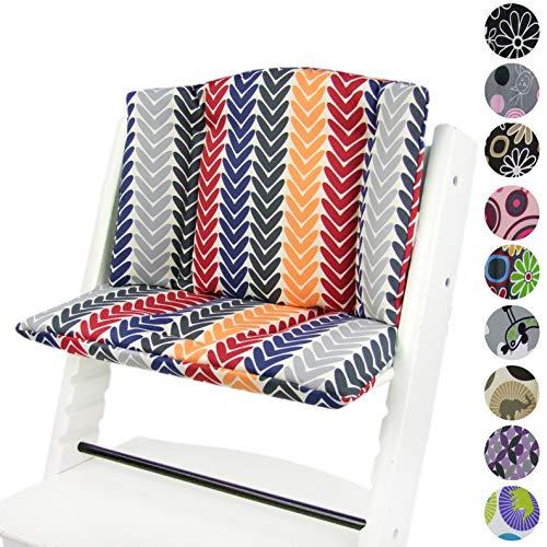BAMBINIWELT vervangende bekleding, kussenset voor hoge stoel/kinderstoel Stokke Tripp Trap, stoelverkleiner design (rond) rot blau gelb Pfeile