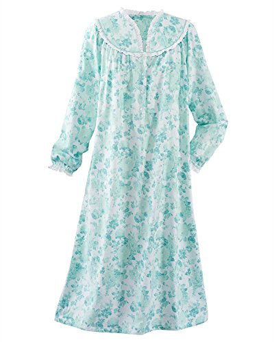 National Dainty Floral Flannel Gown, Light Teal, 1X