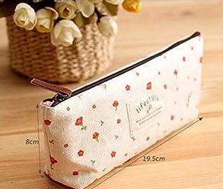 eMarto Floral Canvas Pencil Pen Case Cosmetic Makeup Bag Storage Pouch(Beige)