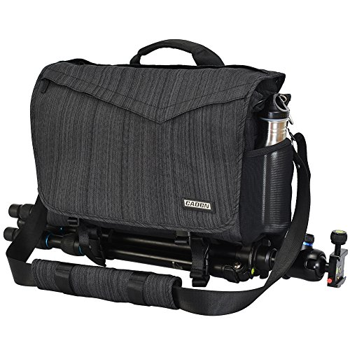 CADeN Camera Bag Case Shoulder Messenger Photography Bag with Laptop Compartment 14', Tripod Holder, Compatible for Nikon, Canon, Sony, DSLR SLR Mirrorless Cameras Waterproof Black