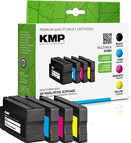 KMP Tintenpatronen Kompatibel mit HP 950/951 XL Multipack 3-Farbig und Schwarz für HP Officejet Pro 8100/8600/8610/8620
