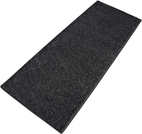 Carpet Studio Ohio Läufer Flur 67x180cm, Teppich Läufer für Schlafzimmer, Küche & Flur, Einfach zu Säubern, Weiche Oberfläche, Kurzflor - Dunkelgrau