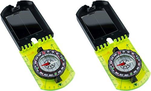 AceCamp 2 x Karten-Kompass, der Kleine verstaubare Spiegel-Taschenkompass zur Orientierung Bei Wandertouren, Outdoor, Fluidgedämpfte Nadel, Doppelpack 3109