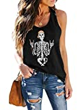 CUQY Womens Tie Dye Shirts Workout Tank Tops Loose Fit Athletic Running T Shirts Halloween Funny Skull Print Tops Skull-Black, L