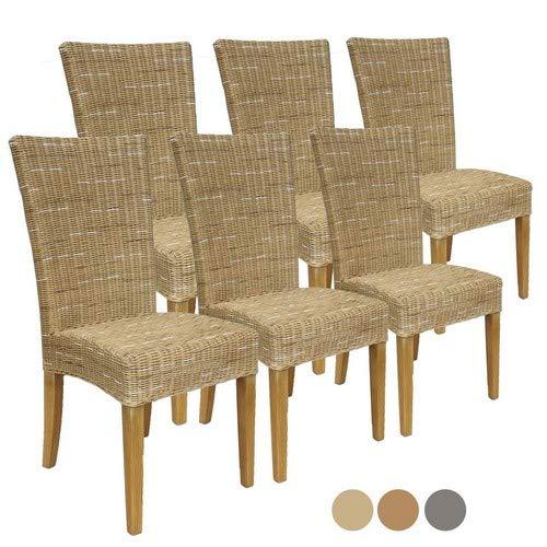 Casamia Rattanstuhl-Set Cardine 6 Stück Esszimmer-Stuhl Cappuccino ohne Sitzkissen, One Size