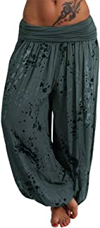 Remanlly Yoga pants workout pants Women Ladies Printed Band Width Loose Leg Pants Women's Casual Pants