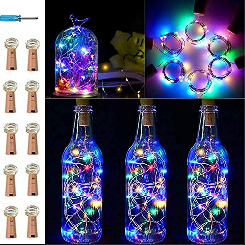 VIPMOON 10 Pack 20 LED/6.56 Feet Bottle Cork String Lights Wine Bottle Fairy Mini Copper Wire, Battery Operated Starry Lights for DIY Valentine's Day Christmas Halloween Wedding Party - Colorful