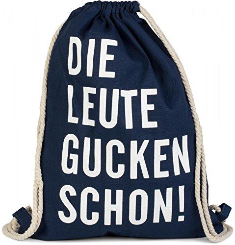 styleBREAKER Statement Turnbeutel mit 'DIE LEUTE GUCKEN SCHON!' Aufdruck, Rucksack, Sportbeutel, Beutel,...