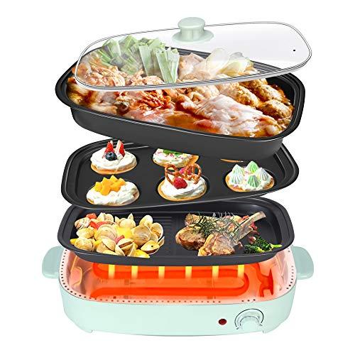TTLIFE - Barbecue elettrico multifunzione 3 in 1 antiaderente e elettrico con pentola calda, griglia coreana Shabu