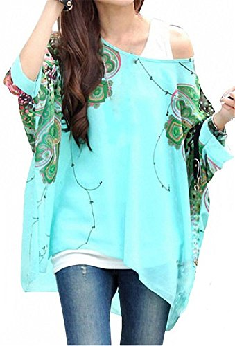 Lässige Chiffon-Bluse, mit Blumenmuster und Fledermausärmeln Gr. Einheitsgröße, color5