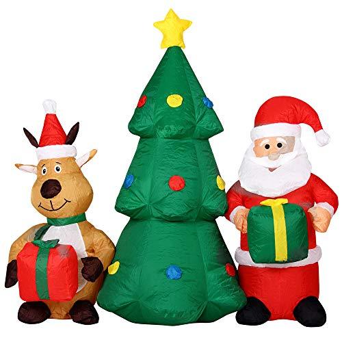 BAKAJI Gonfiabile Albero Di Natale Con Babbo Natale e Renna Con Luci a LED Altezza 150cm Sistema Autogonfiabile Kit Fissaggio Per Esterno Protezione IP44 Addobbo e Decorazione Natalizia