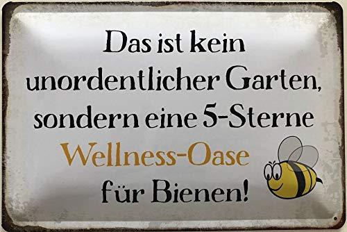 Deko7 Blechschild 30 x 20 cm Garten Spruch: 5 Sterne Wellness Oase für Bienen