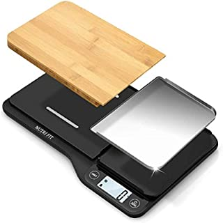 NUTRI FIT Food Scale with Removable Cutting Board & Tray - 3 in 1 Digital Kitchen Scale, LCD Display, 11lb 5kg, Easy for C...
