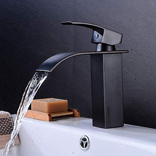 Grifo de lavabo en cascada, todo de bronce, grifo de lavabo de boca plana, abrevadero de agua fría y caliente