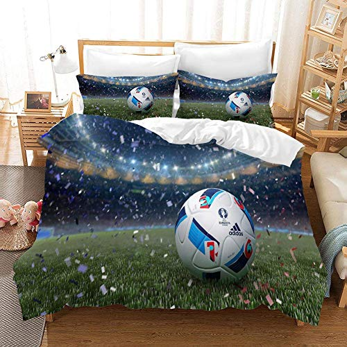 695 Duvet Cover Sets 3D Football Logo Printing Cartoon Bedding Set With Zipper Closure 100% Polyester Gift Duvet Cover 3 Pieces Set With 2 Pillowcases B-US King102*90'(259 * 229cm)
