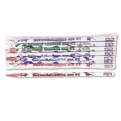 Moon Products 7862B Decorated Wood Pencil, Second Graders are #1, HB #2, White, Dozen