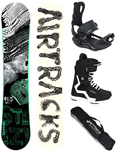 Airtracks Snowboard Set - Board STEEZY Wide 155 - Softbindung Master - Softboots Strong 44 - SB Bag