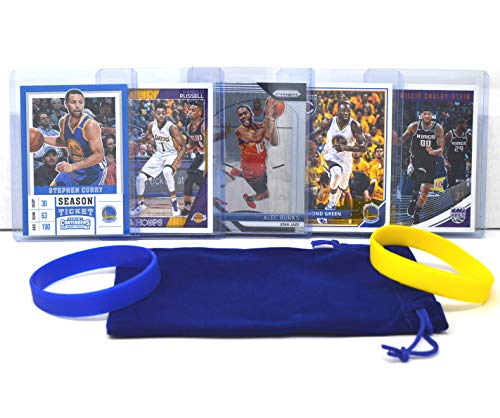 Golden State Warriors Card (7) Basketball Cards: Stephen Curry, Klay Thompson, Draymond Green, D'Angelo Russell, Andrew Wiggins, Alec Burks, Willie Cauley-Stein ASSORTED Trading Cards Bundle