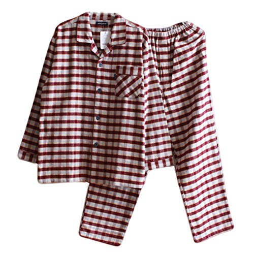 Gaga stad Heren Nachtkleding Sets 100% Katoen 2 Stuk Pyjamas Loungewear Tracksuit Warm Nighties