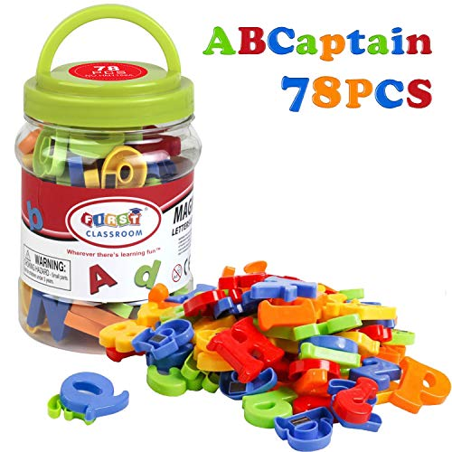 ABCaptain Magnetic Letters & Numbers Early Learning Toy Gift for Kids Ages 3+ Classroom (78 PCS)