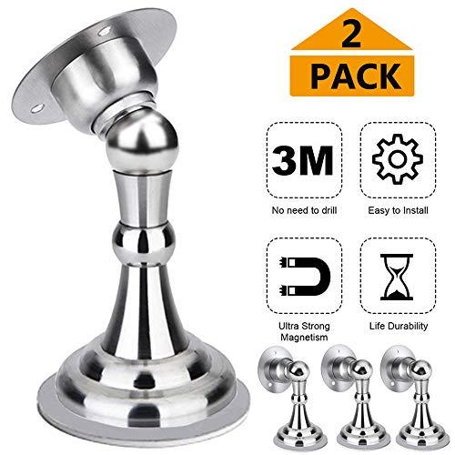 Deurstopper, magneetdeurstop, soft-catch magnetische deurvangst, deurhoud, roestvrij staal, geborsteld satijn nikkel chroom, houd uw deur zacht open, muurbevestiging. Modern design Zilver -2 Pack