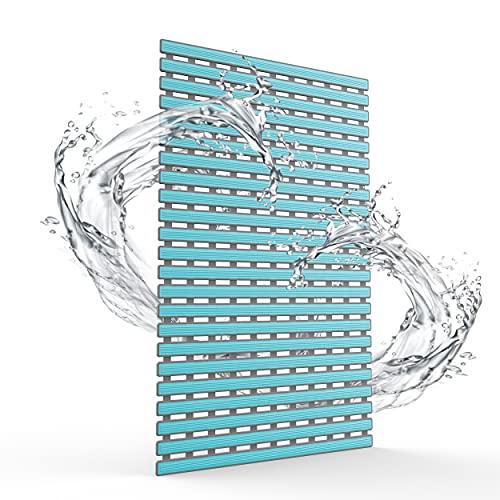 FALEJU Shower Mat Bathroom Bathtub Mat Non-Slip mat with Suction Cups and Drain Holes,Machine Washable TPE+PP Composite Material Bath Mat (Sky Blue, 15.74' x 24.80')