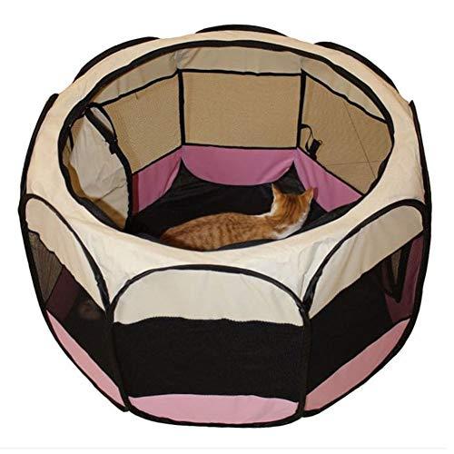 AGN - Ciotola per lettiera per gatti, lavabile, gabbia ottagonale, in tessuto Oxford impermeabile, anti-cane, recinto ottagonale, colore: Blu-rosa