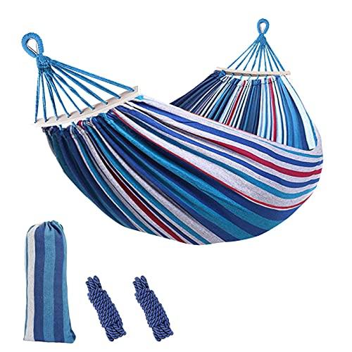 Sooair Hamaca Colgante, Camping Hamaca 300kg Capacidad de Carga Ultra Ligera Nylón de Paracaída Portátil y Transpirable, 2 eslingas incluidas - Azul y Blanco
