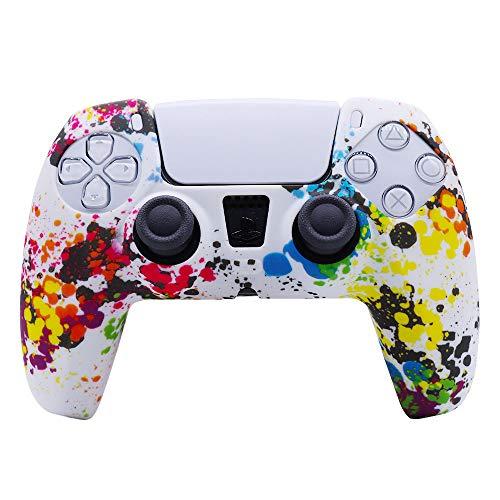 A capa de silicone é adequada para PS5, TwiHill, capa de silicone para gamepad, capa de camuflagem com marca d'água, capa de proteção, tinta spray, capa de aquarela, acessórios PS5 (G)