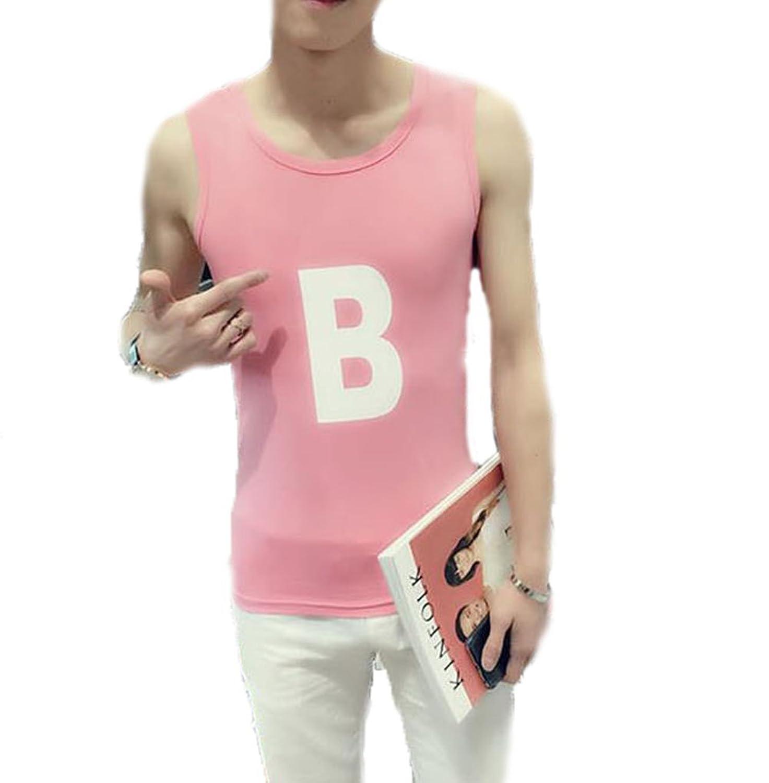 GuDeKe夏タンクトップ メンズ トップス クルーネック綿 Tシャツ ノースリーブ インナー プルオーバー シンプル 細身 カジュアル メンズファッション コーデ