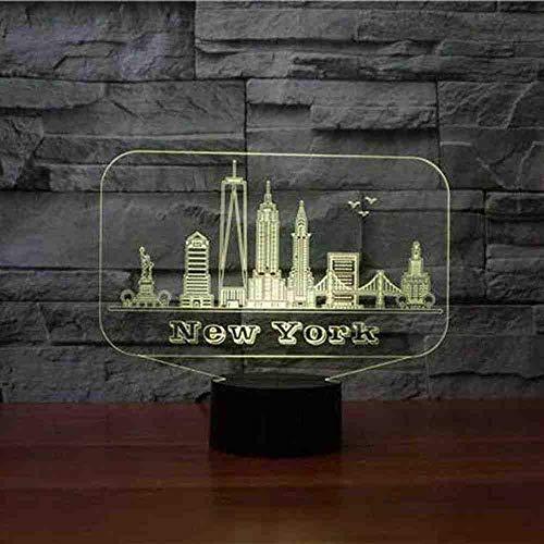 7 colores Night Lights lámpara de mesa 3D New York Building Led regalos conmemorativos accesorio de iluminación Baby Sleep Lighting Decor