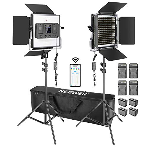 Neewer 2 Pack Luz de Video LED 660 con Control Aplicación, Iluminación de Video Kit para Fotografía con Soportes Luz, Baterías y Cargadores, 45W Regulable Bicolor 3200K-5600K CRI97 para Video Youtube