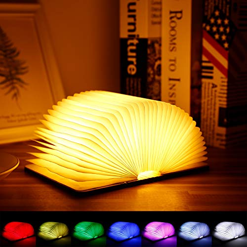 Albrillo Lámpara Plegables de Madera - LED Luces de Libro Recargable USB, 8 Cambio de Color, 1200mAh Batería, Plegable 360°, Luz de Noche Decorativa para Navidad, Fiestas de Cumpleaños, Vacaciones